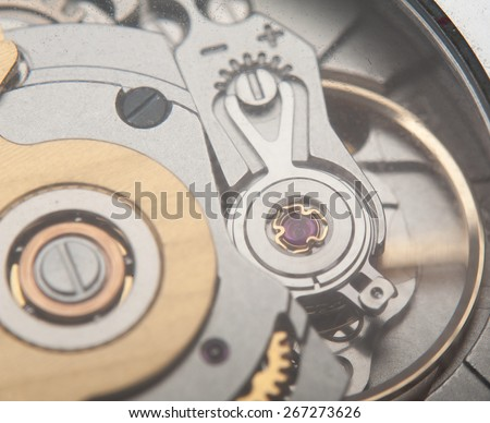 Extreme macro shot of the jewel mechanism of an automatic wrist watch #267273626