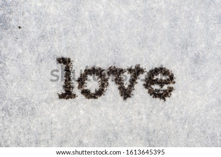 Extreme macro shot of the word LOVE typed on white paper. Grungy textured mood.