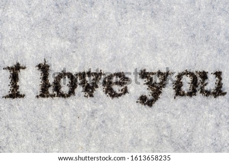 Extreme macro shot of the words I LOVE YOU typed on white paper. Grungy textured bloody mood.