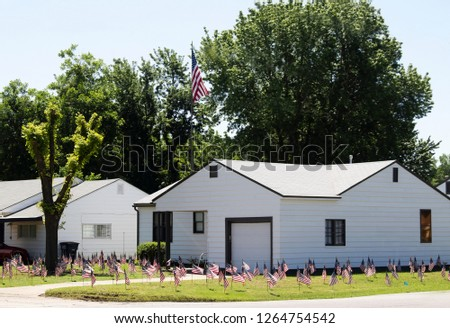 Extreme patriotism - Little white house with a hundred American Flags in the yard #1264754542