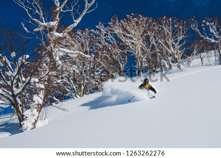 Extreme pro skier shredding the deep powder snow in the sunny Japanese mountains. Cool shot of an active male tourist skiing off piste and carving down the untouched mountain. Awesome winter sport. Foto stock ©
