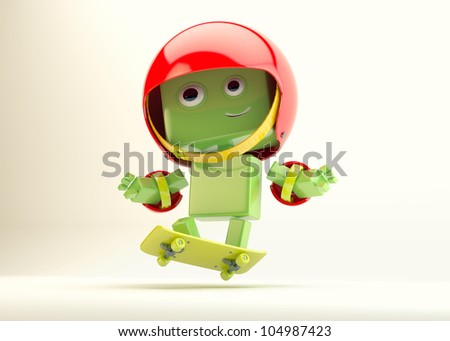 Extreme robotic skateboarder/Smiling android in protective suit makes feint on skate