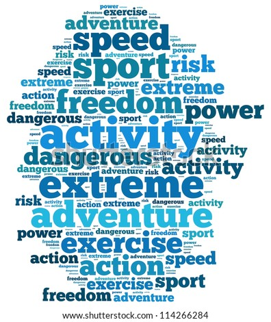 extreme sport info-text graphics and arrangement concept on white background (word cloud)