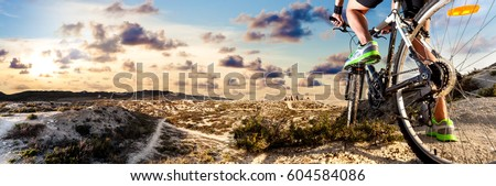 Extreme sports.Mountain bike and man.Healthy life style and outdoor adventure