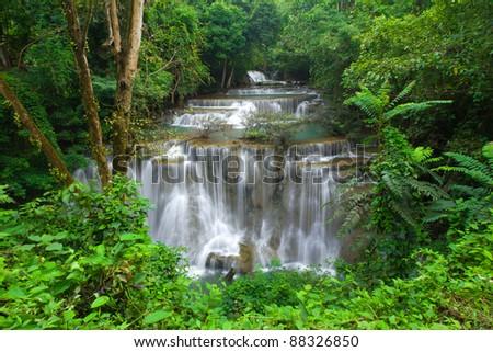 Extreme waterfall in Kanjanaburi Thailand