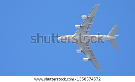 Extreme zoom photo of large passenger Air Plane flying in clear blue sky