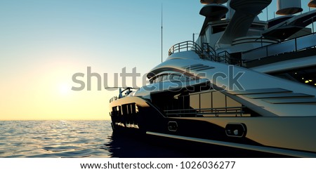Extremely detailed and realistic high resolution 3D image of a luxury super yacht
