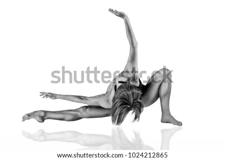 Extremely Fit Female Dancer - Black and White #1024212865