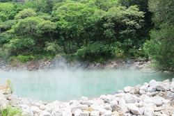 Extremely hot spring water in Thermal Valleyin Beitou, water evaporated as steam and vapour