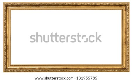 Extremely long golden frame isolated on white background #131955785