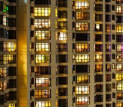 Extrior of apartment building at night