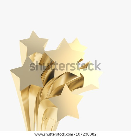 Extruded golden stars on as festive copyspace background