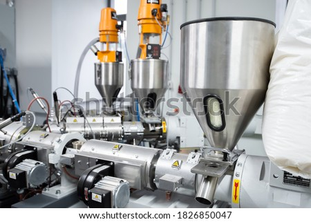 Extruder machine for extrusion of plastic material, close-up view Foto stock ©