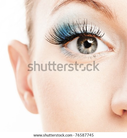 Eye and nose of beautiful young woman close up, soiled by green cosmetics.