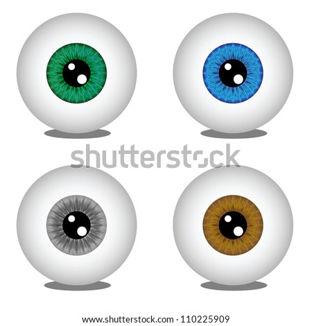 Eye balls in different colors, vector illustration