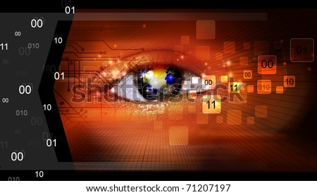 Eye being scanned on abstract background
