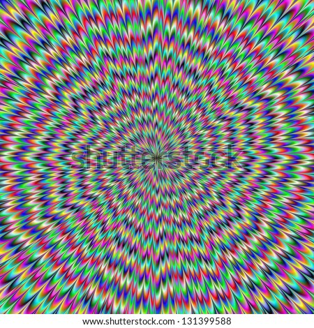 Eye Boggling / Digital abstract image with an explosion of blue red yellow green and purple producing an optical illusion of movement.