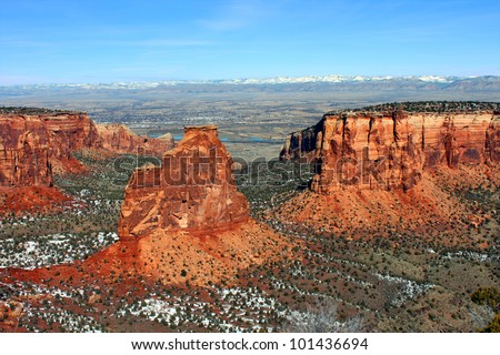 Eye catching rock formations tower over the valley at Colorado National Monument