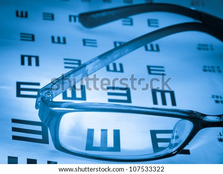 eye chart and glasses background