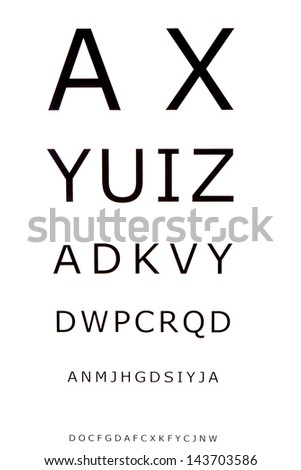 Eye Chart for optometrist