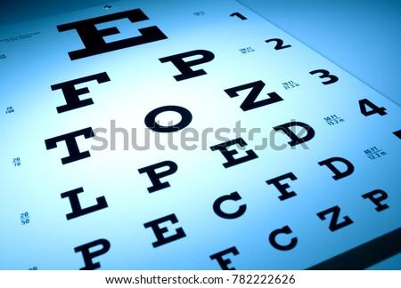 Eye chart optometry concept