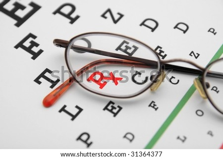 eye chart with prescription symbol