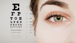 eye doctor test concept with eye test chart