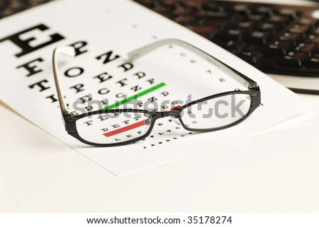 eye exam chart and glass
