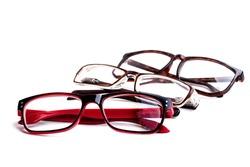 eye glasses accessory for eye on white background