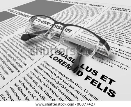Eye glasses and newspaper - stock photo