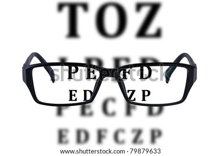 Eye glasses isolated with eye chart background.