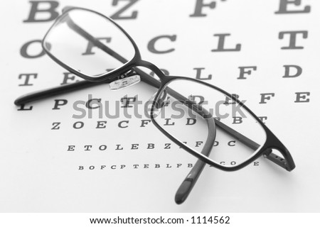 Eye glasses on a test chart