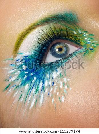 Eye macro shot with creative makeup