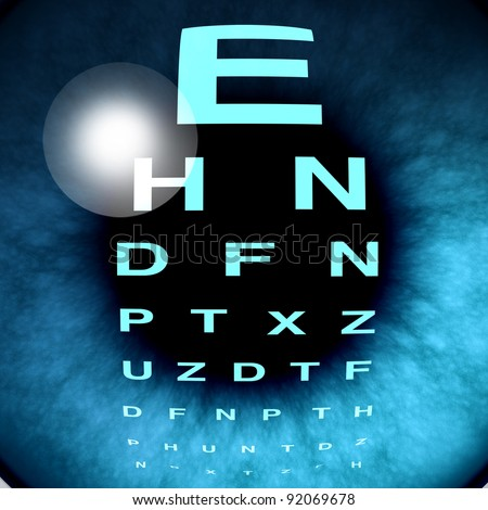 Eye macro vision and eyesight for healthy eyes using an eye chart to help focus for near sighted and far sighted retina and lens diagnosis from an optometrist from the department of ophthalmology.