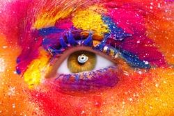 Eye Makeup. Beautiful Eyes Glitter Make-up. Holiday Makeup detail. False Lashes Colors.