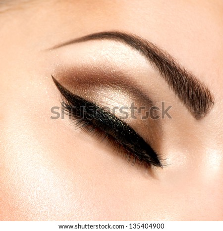 Eye Makeup. Beautiful Eyes Retro Style Make-up. Holiday Makeup detail. Eyeliner