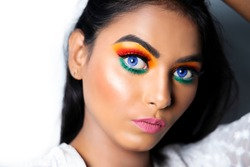 Eye Makeup of Indian flag tricolor, Indian republic and independence day concept.jpg