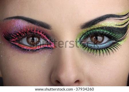 turquoise eye makeup looks. stock photo : Eye makeup with
