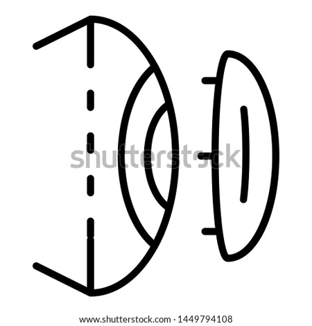 Eye modern contact lens icon. Outline eye modern contact lens icon for web design isolated on white background