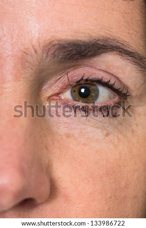 Eye of a mature woman with wrinkles
