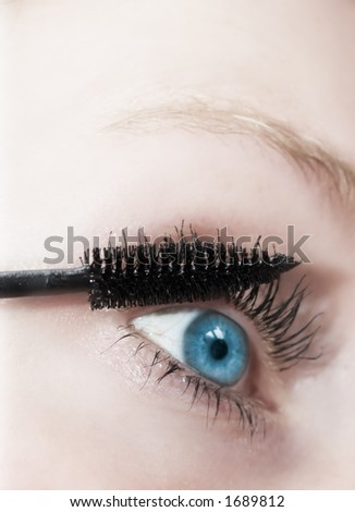 eye of a woman and makeup