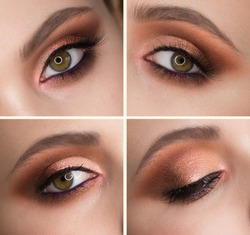 Eye of a woman close-up, Make-up.