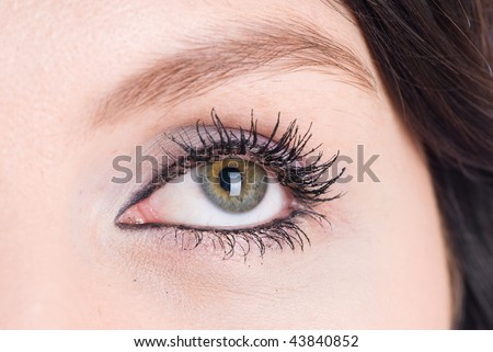Eye of dreaming woman on white background
