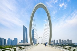 Eye of Nanjing Pedestrian Bridge and urban skyline in Nanjing, China