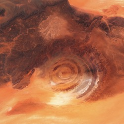 Eye of the desert geological structure of Rishat, satellite image, beauty of the desert. contains modified Copernicus Sentinel data