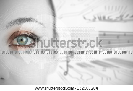 Eye of woman next to binary codes close up on circuit board background - stock photo