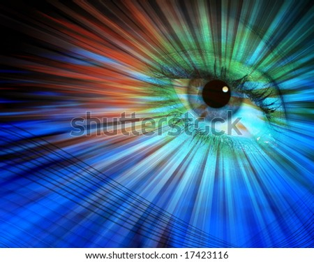 Eye overlaid over colorful abstract line pattern