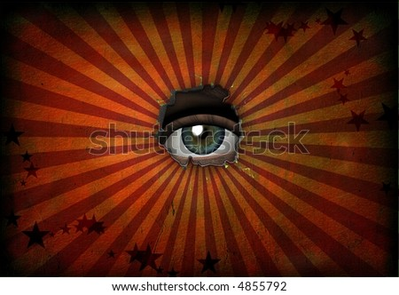 Eye peers out from grunge