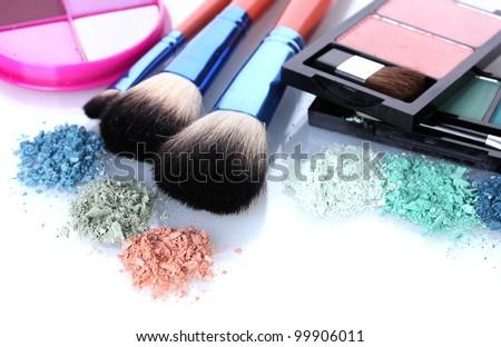 eye shadow and make-up brushes isolated on white