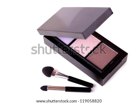 Eye shadows cosmetics isolated over white background